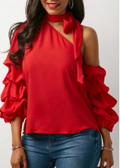 Red Tie Neck Layered Sleeve Blouse
