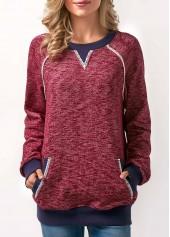 Long Sleeve Pocket Patchwork Red Sweatshirt