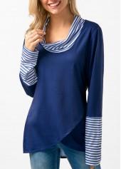 Cowl Neck Striped Asymmetric Hem T Shirt