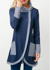 Stripe Print Cowl Neck Asymmetric Hem Navy T Shirt