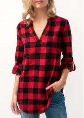 Long Sleeve Plaid Print Curved Blouse