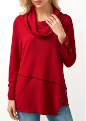 Asymmetric Hem Button Embellished Cowl Neck Blouse