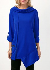Roll Tab Sleeve Asymmetric Hem Royal Blue Blouse