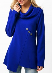Cowl Neck Button Embellished Royal Blue Blouse