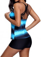wholesale Printed Strappy Back Blue Tankini Top and Shorts