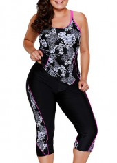 Plus Printed Black Top and Swimwear Cropped Pants
