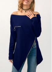 Bardot Zipper Embellished Long Sleeve Navy Blouse