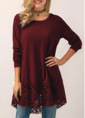 Wine Red Lace Panel Hooded Collar Blouse