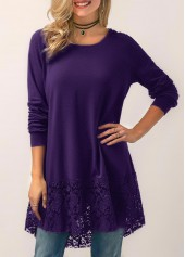 Lace Panel Purple Hooded Collar Blouse