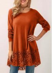 Lace Panel Orange Hooded Collar Blouse