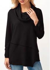 Long Sleeve Cowl Neck Asymmetric Hem Black Blouse