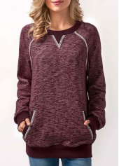 Burgundy Long Sleeve Patchwork Pocket Sweatshirt