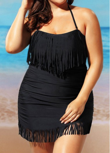 Plus Size Ruched Tassel Embellished Swimdress and Panty