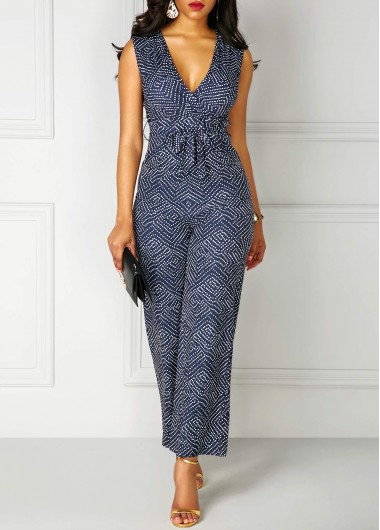 Printed High Waist V Neck Sleeveless Jumpsuit