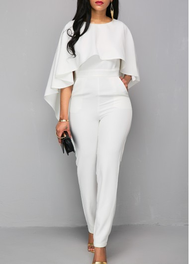 Women Wedding Guest Overlay Jumpsuit White Zipper Closure V Back Cloak Skinny Formal Jumpsuit By Rosewe - L
