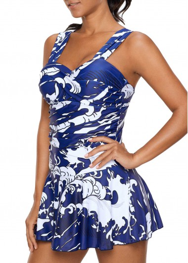Rosewe Women Blue One Piece Wide Strap Ruched Swimwear Wide Strap Ruched Blue One Piece Swimdress - L