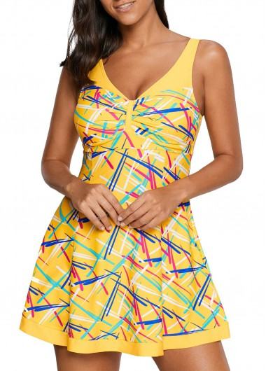 Padded V Neck Printed Swimdress and Shorts