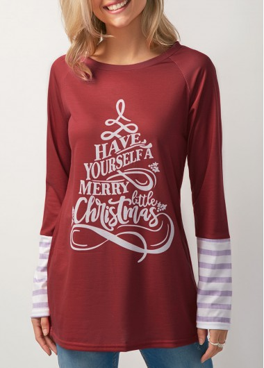 Long Sleeve Wine Red Christmas Printed T Shirt