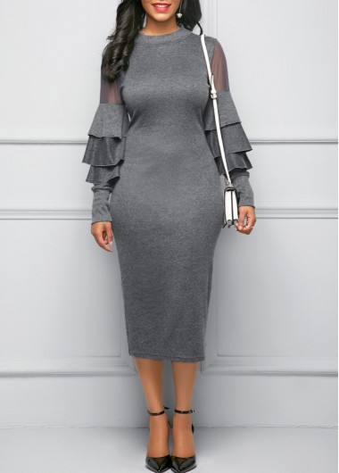 Mock Neck Mesh Panel Layered Bell Sleeve Grey Dress