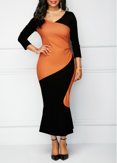 Peplum Hem Color Block V Neck Sheath Dress