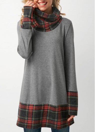 Patchwork Long Sleeve Cowl Neck Grey T Shirt