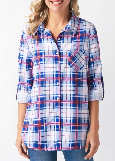 Roll Tab Sleeve Turndown Collar Plaid Print Shirt - M