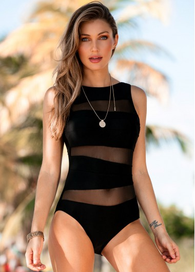Mesh Panel Scoop Back One Piece Swimwear