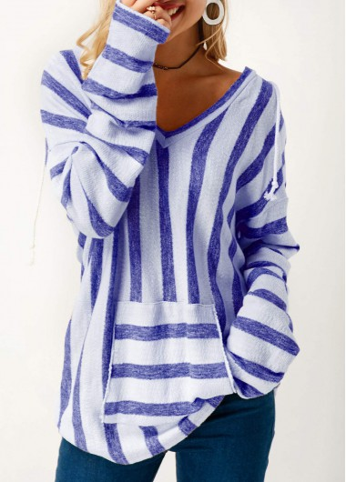 Blue Long Sleeve Striped Hooded Collar T Shirt