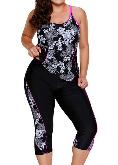 Black Racerback Printed Top and Swimwear Cropped Pants