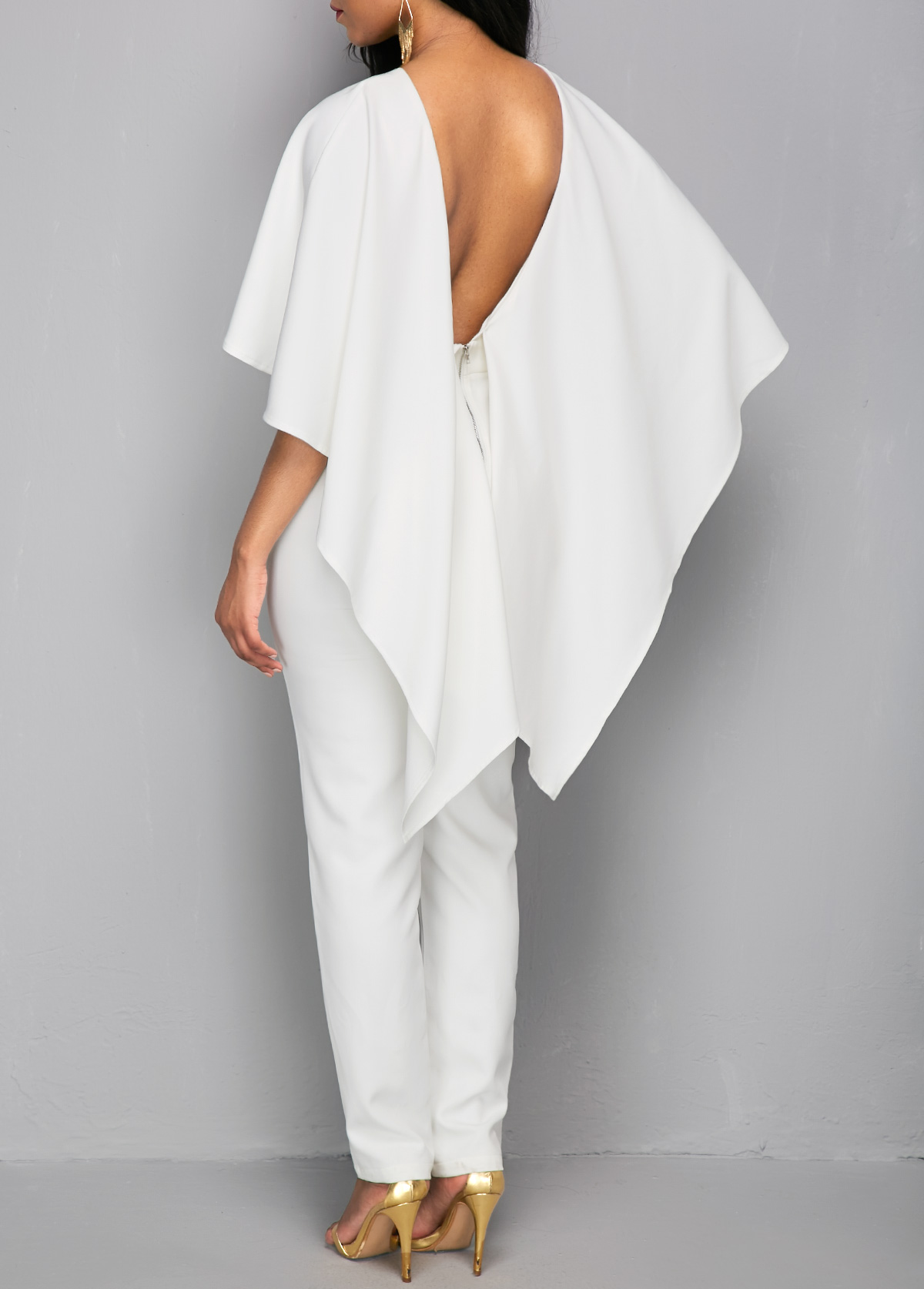 415632df34 Zipper Closure V Back White Cloak Jumpsuit. AddThis Sharing Buttons