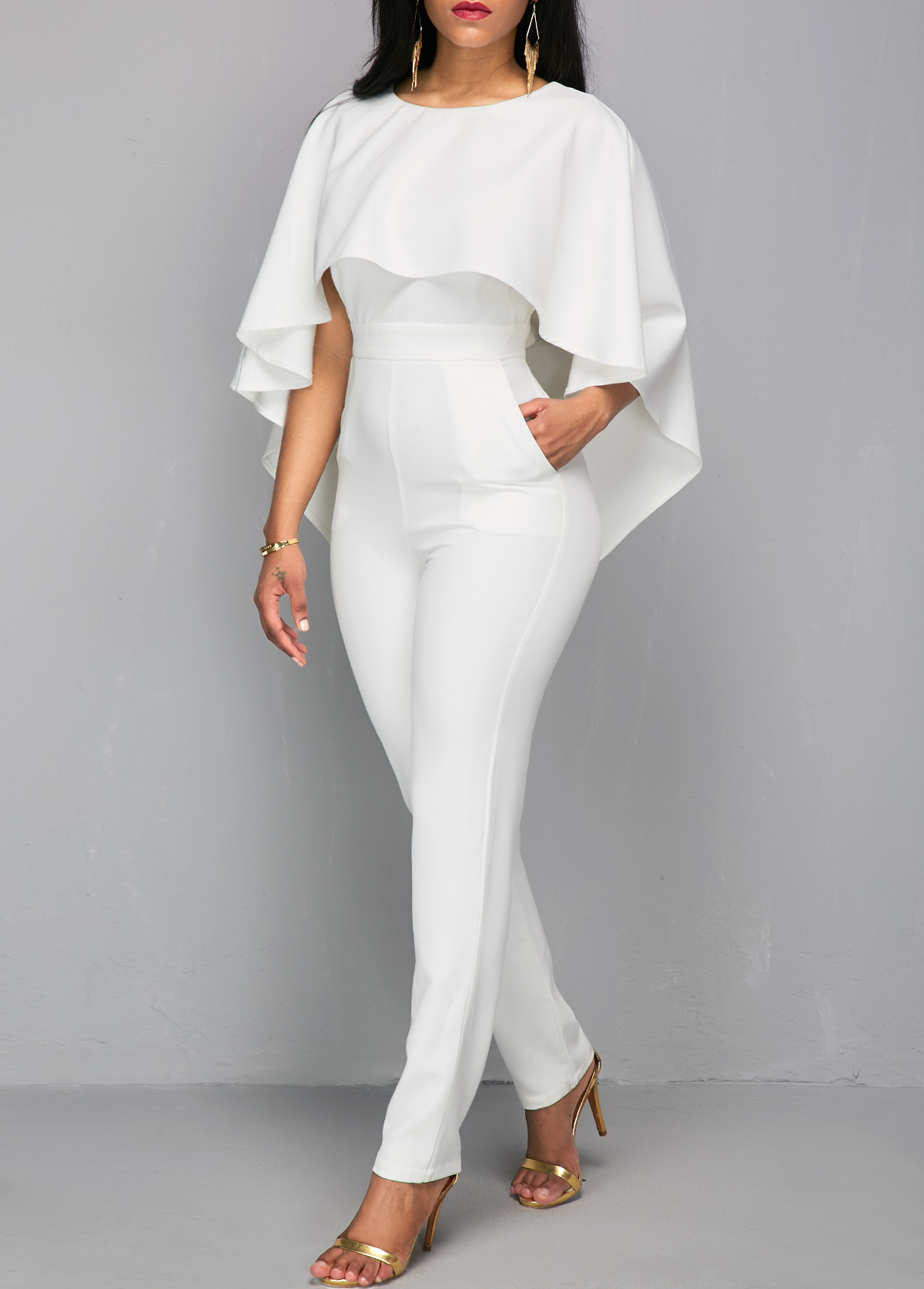 Zipper Closure V Back White Cloak Jumpsuit