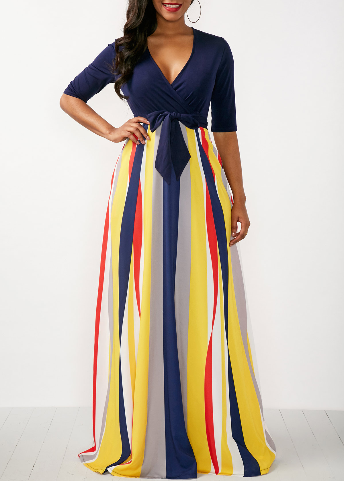 Striped V Neck Half Sleeve Maxi Dress
