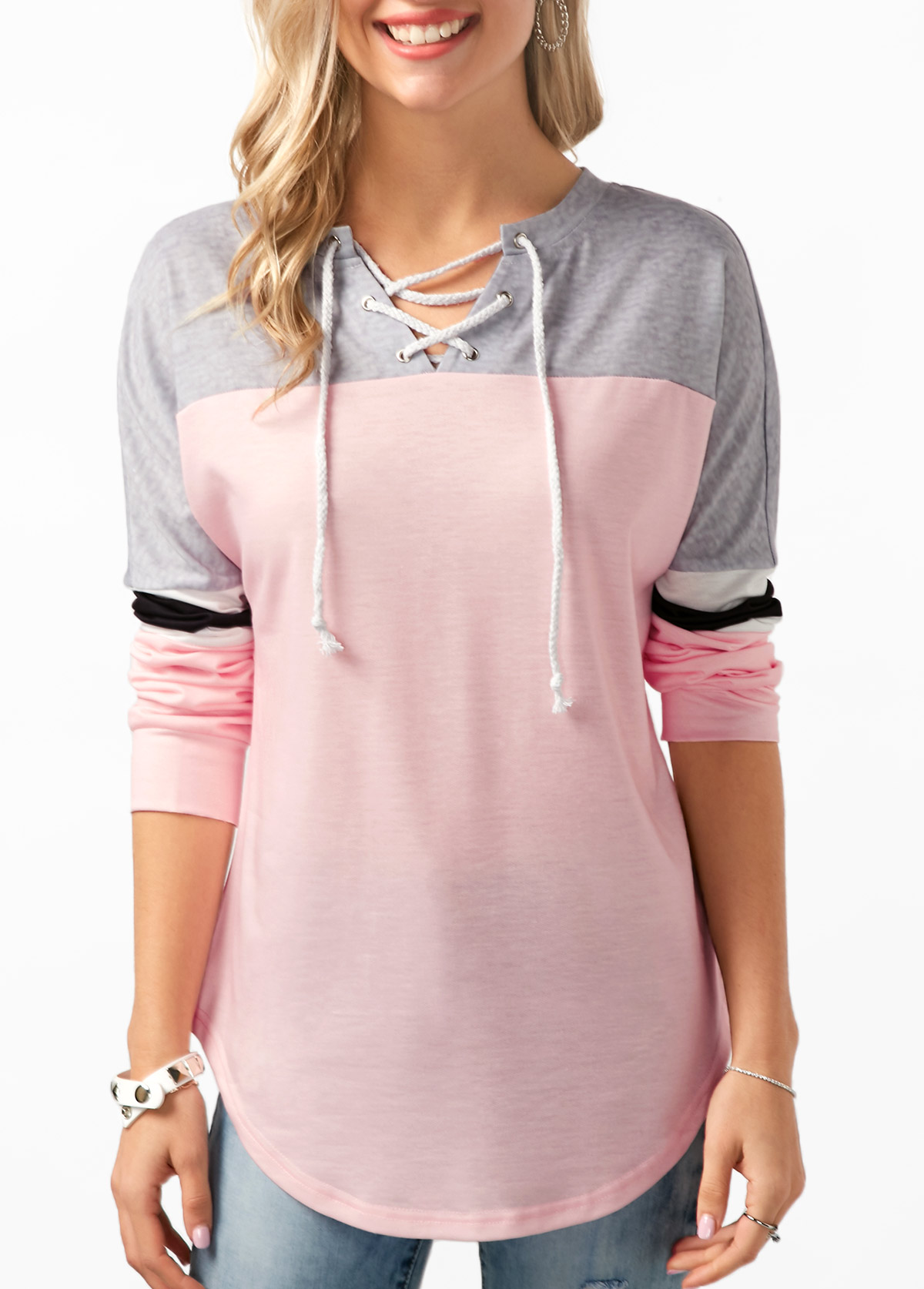 Lace Up Color Block Curved Hem Tunic T Shirt