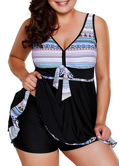 Plus Printed V Neck Cross Back Swimdress and Shorts