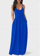 Open Back Pocket Decorated Royal Blue Dress