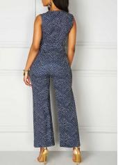 wholesale Printed High Waist V Neck Sleeveless Jumpsuit