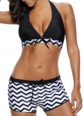 wholesale Chevron Print Black Halter Neck Two Piece Swimwear