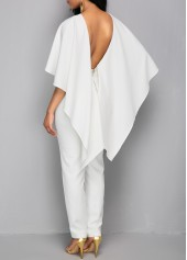 wholesale Zipper Closure V Back White Cloak Jumpsuit
