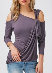 wholesale Asymmetric Hem Dark Grey Cold Shoulder T Shirt