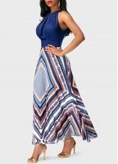 wholesale Round Neck Sleeveless Patchwork Printed Dress