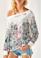 Long Sleeve Flower Print Skew Neck Blouse