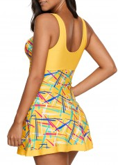 wholesale Padded V Neck Printed Swimdress and Shorts