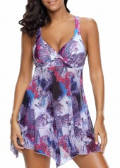 Floral Print Purple Swimdress and Shorts