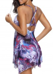 wholesale Floral Print Purple Swimdress and Shorts