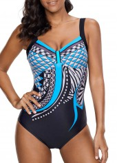 Printed Open Back One Piece Swimwear