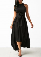Black Belted Asymmetric Hem Dress and Cardigan