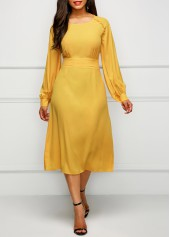 Band Waist Long Sleeve Yellow Dress