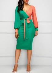 wholesale V Neck Belted Color Block Sheath Dress