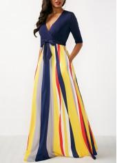 wholesale Printed V Neck Half Sleeve Maxi Dress