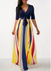 wholesale Striped V Neck Half Sleeve Maxi Dress